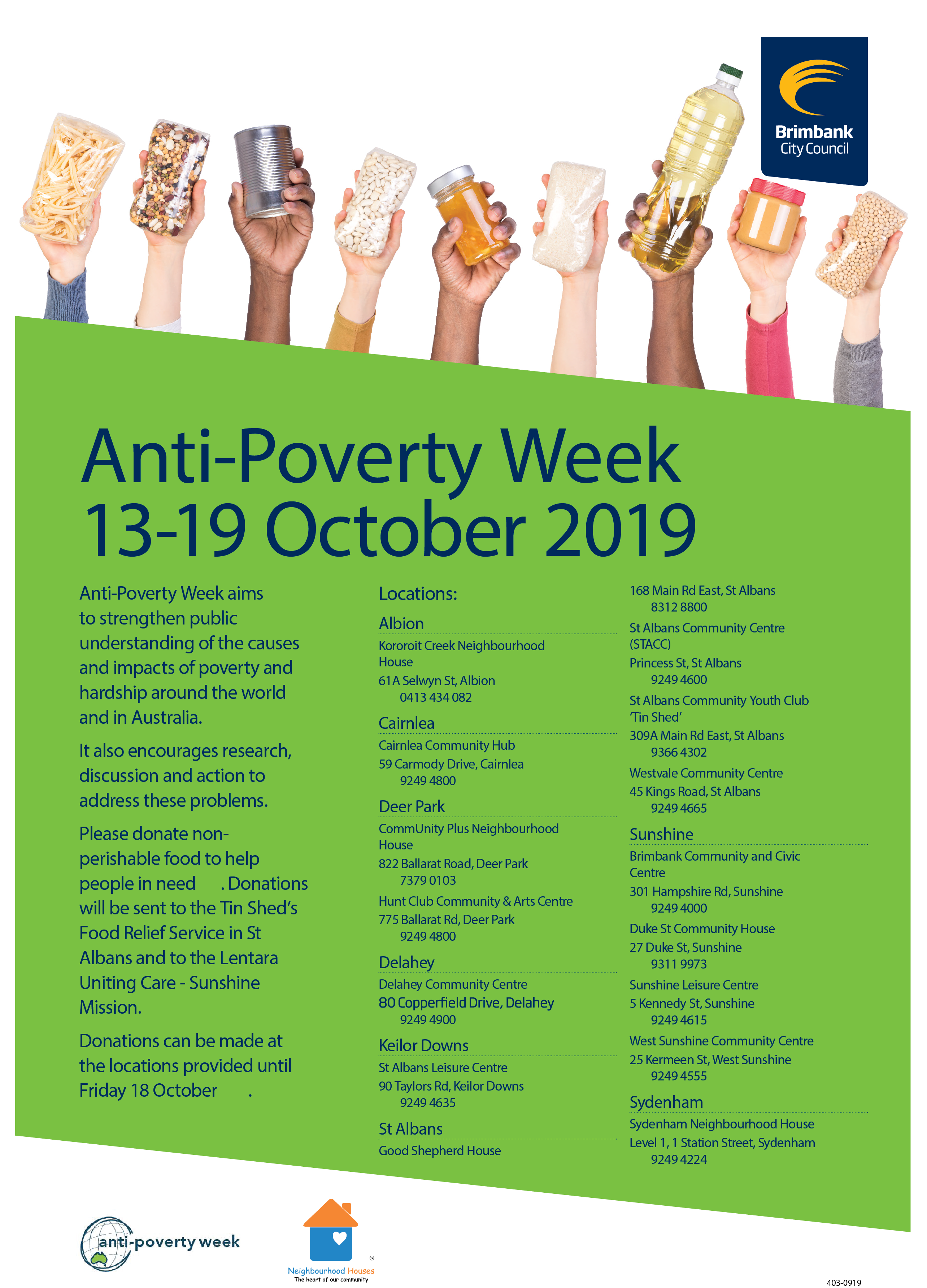 2019 09 26 Anti Poverty Week Flyer