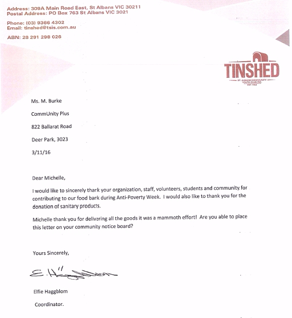Thankyou letter from Tin Shed